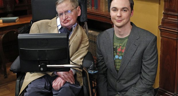 """""""The Hawking Excitation"""" -- When Wolowitz gets to work with Stephen Hawking (left), Sheldon (Jim Parsons, right) is willing to do anything to meet his hero, on THE BIG BANG THEORY, Thursday, April 5 (8:00-8:31 PM, ET/PT) on the CBS Television Network.    Photo: Sonja Flemming/CBS  ©2012 CBS Broadcasting Inc. All Rights Reserved."""