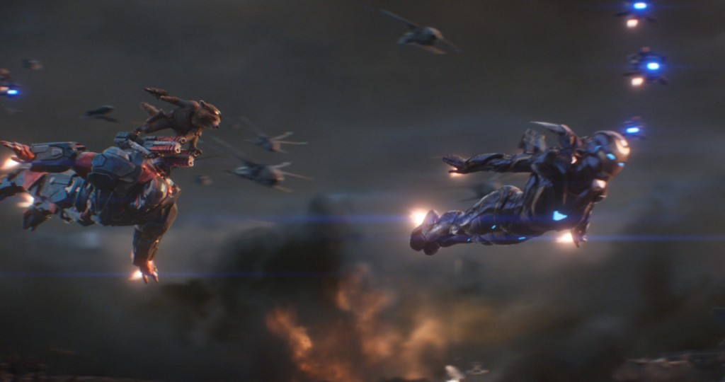 Marvel Studios' AVENGERS: ENDGAME..L to R: War Machine (Don Cheadle), Rocket (voiced by Bradley Cooper) and Pepper Potts in Resue Suit (Gwyneth Paltrow)..Photo: Film Frame..©Marvel Studios 2019