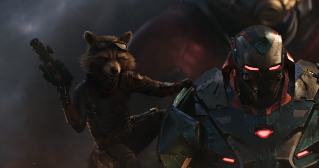 Marvel Studios' AVENGERS: ENDGAME..L to R: Rocket (voiced by Bradley Cooper) and War Machine (Don Cheadle)..Photo: Film Frame..©Marvel Studios 2019